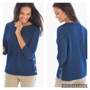 Chico's Zenergy By Chicos Side Snap Boxy Top Blue